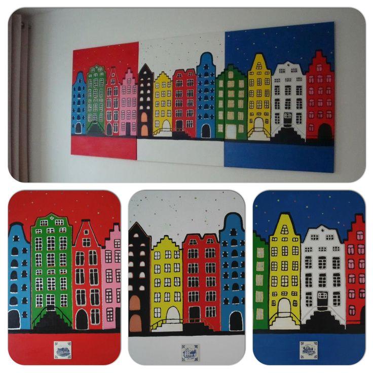 Grachtenpanden , drieluik, op doeken van 70x50 cm, acrylverf