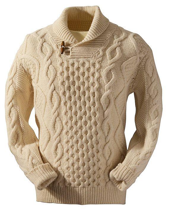 Cuello chal de Aran mano de cuello alto suéter V cuello