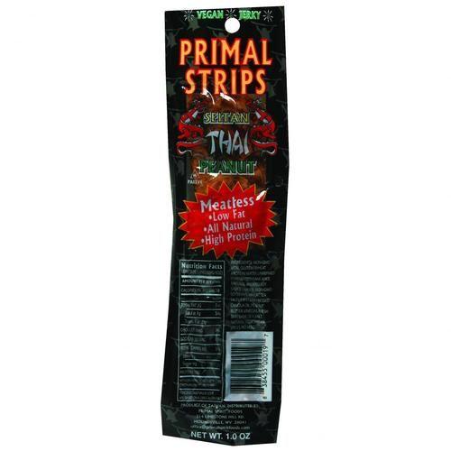 Primal Strips Vegan Jerky - Meatless - Seitan - Thai Peanut - 1 Oz - Case Of 24