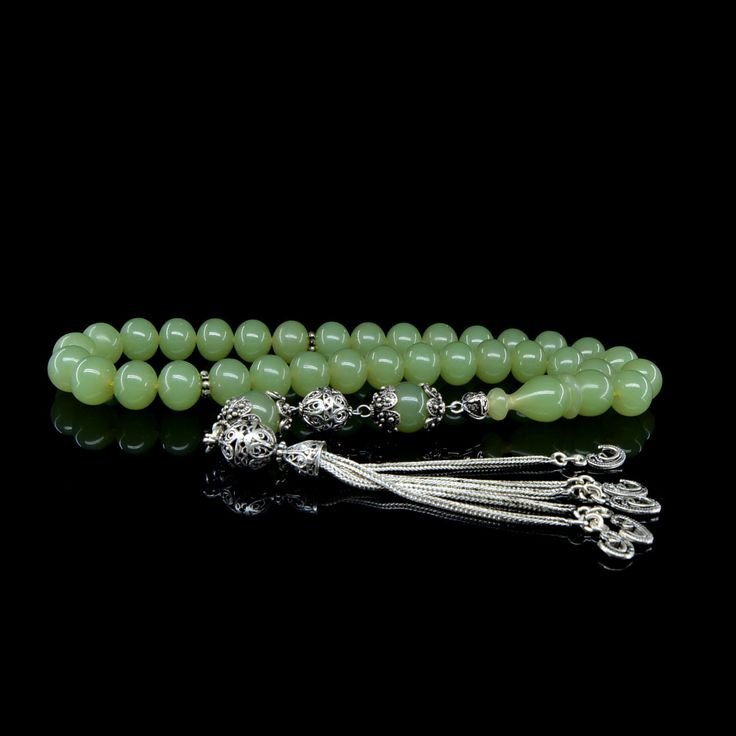 Green Amber Tasbih With 925 Sterling Silver Tassle (TG-2002)
