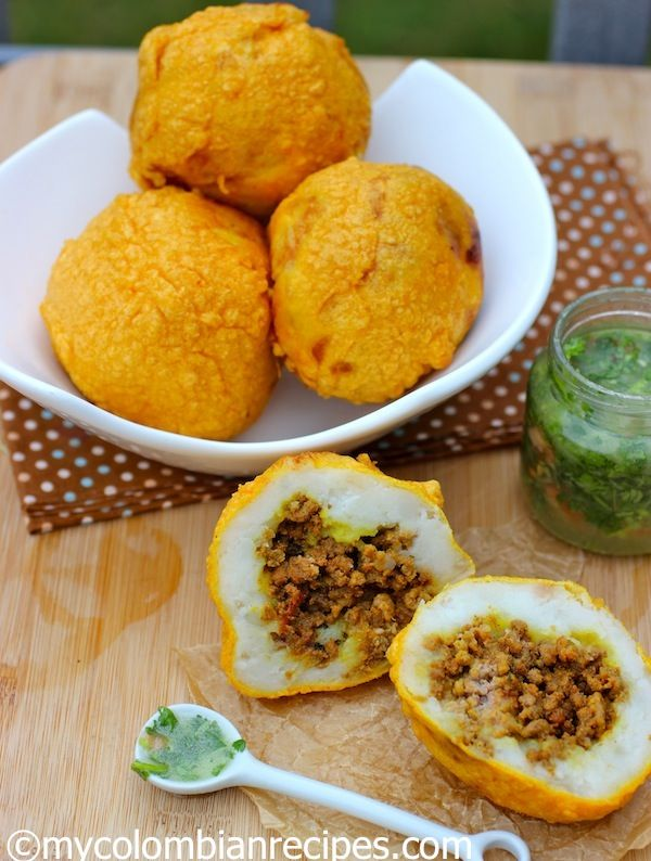 Colombian Food-Papas Rellenas - Colombian Stuffed Potatoes hot or cold and they are delicious with ají sauce.