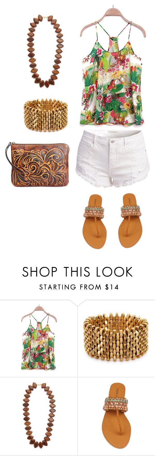 """""""Tropical Print Top"""" by amanda-o-twomey ❤ liked on Polyvore featuring Alice Menter, Kenneth Jay Lane and Patricia Nash"""