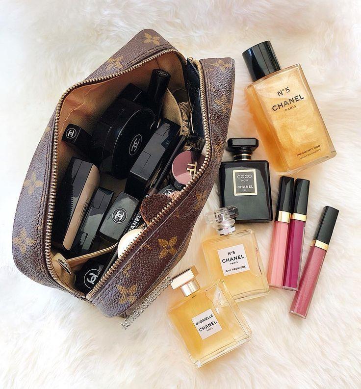 All the goods Chanel makeup, Makeup bag, Cosmetic bag