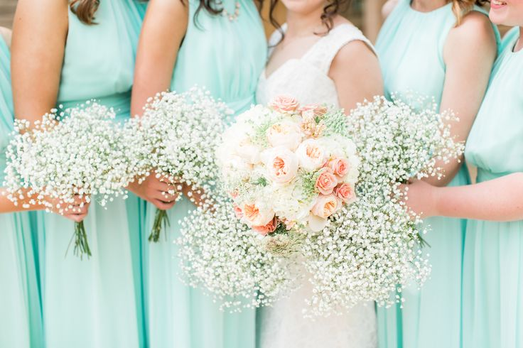 Turquoise Bridesmaid Dresses and Baby's Breath Bouquets