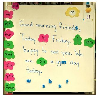 INSTRUCTION: The BLD outlines a Morning Message activity that contributes to students understanding of spelling and words. High frequency words appear the most in Morning Messages which gives students daily exposure to such words and their mechanisms. Students become familiar with and more easily recognize these high frequency words.
