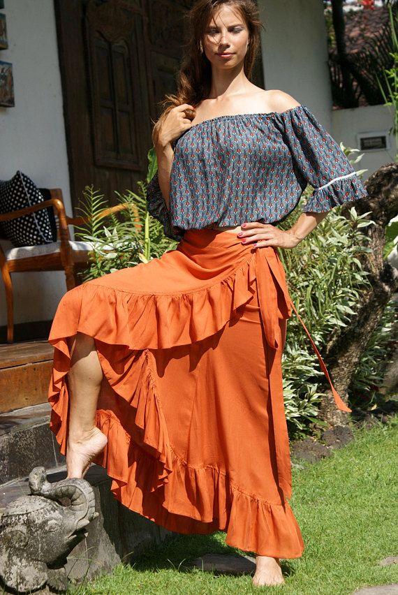 Skirt Frill Wrap/Maxi Wrap skirt/Skirt Bohemian/Adjustable