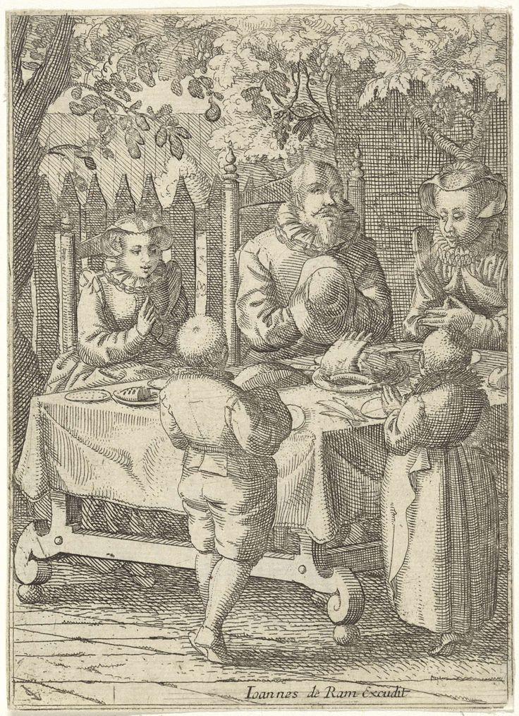 Gebed voor de maaltijd, Claes Jansz. Visscher (II), Johannes de Ram, 1608 - 1610