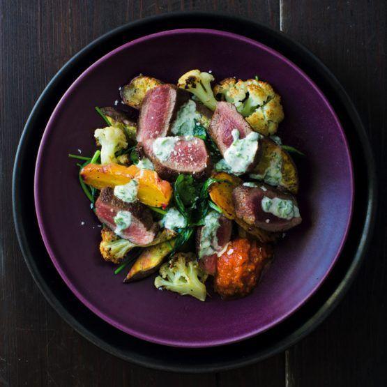 Spiced lamb with roast vegetables, kasundi and coriander yoghurt by Nadia Lim | NadiaLim.com