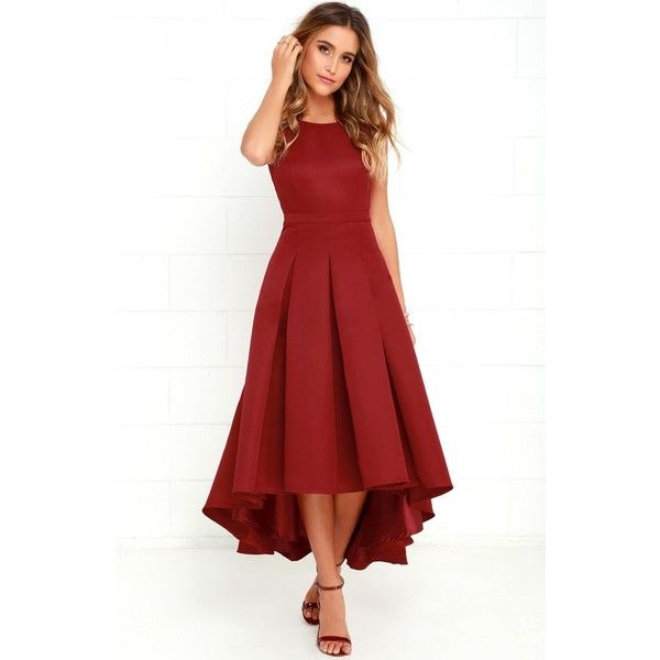 Women's Lulu'S Cutout Back Tea Length High/low Dress ($82) ❤ liked on Polyvore featuring dresses, tea length dresses, red dress, red cut-out dresses, fit and flare cocktail dress and cutout dresses