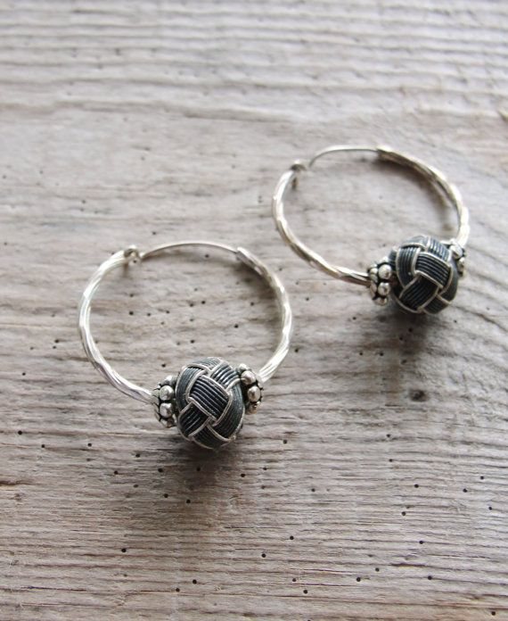 Sterling Silver Hoop Earrings Hand knotted by StaroftheEast