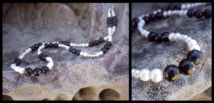 Freshwater Pearl/Black Agate Necklace  http://www.facebook.com/ZadiaDesigns