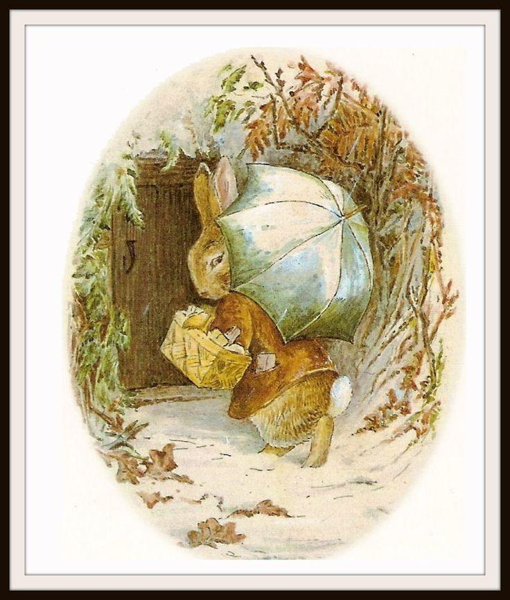 "Bunnies in Winter by Beatrix Potter Art Print 8 x 10"""