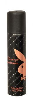 99p - Playboy Parfum Deodorant Play It Spicy 75ml Full of excitement, possibility and allure, this glamorous floral scent opens with a sparkling burst, evoking the dazzling spirit of a sensational party. At its heart an elegant seductress settles into a richer, mellow tone – leaving a sensual signature that, like you, won't be ignored.