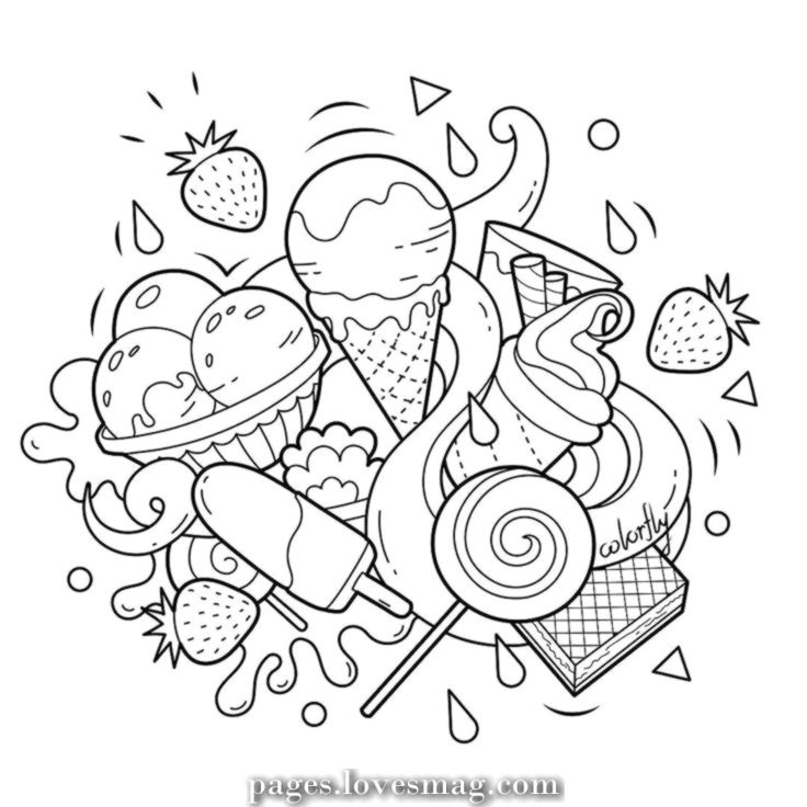 Great Colorfly Freebie Its Time To Attempt One Thing Candy Benefit From The Ice Cream And Cute Doodle Art Cute Coloring Pages Doodle Art