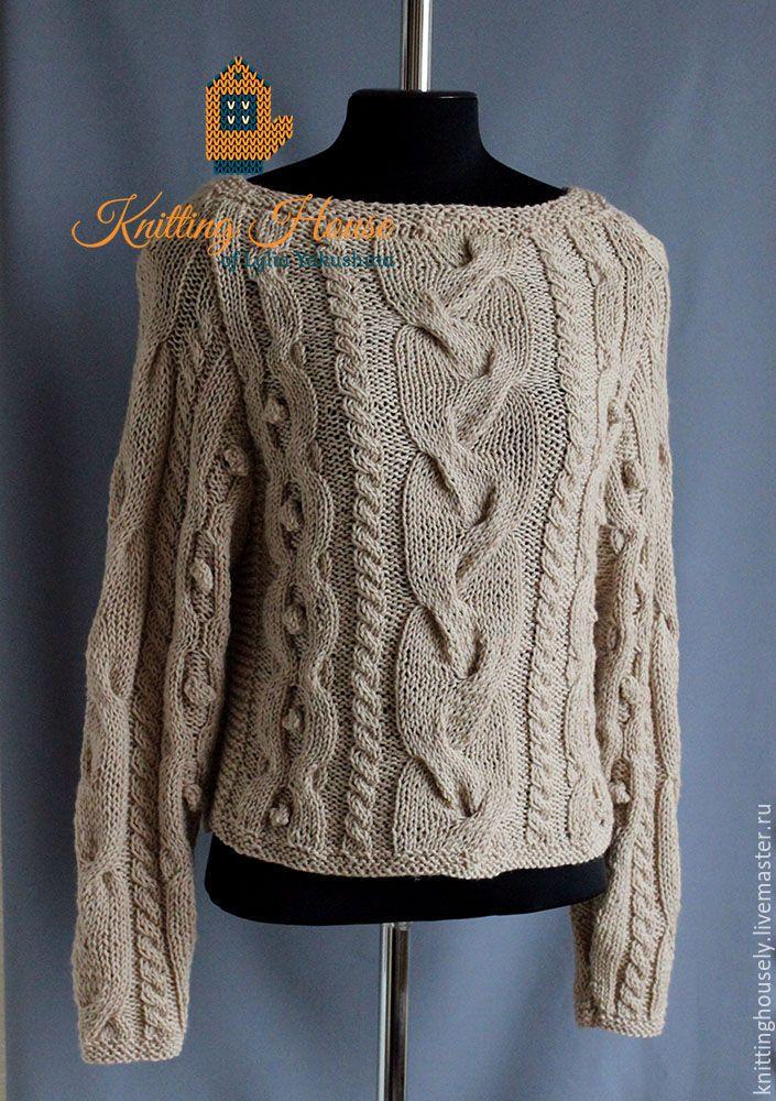 Купить Джемпер пуловер вязаный спицами из шерстяной пряжи бежевый мода стиль - бежевый, пуловер