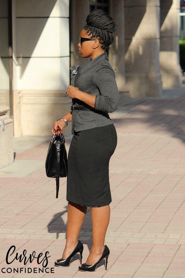 Gray H&M Blazer and Black Express Pencil Skirt
