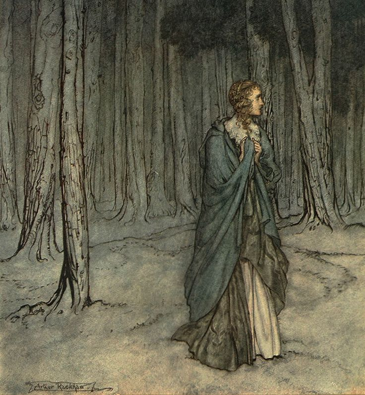 Into the Woods, 6: The Dark Forest - The Lamb and the Serpent by Arthur Rackham