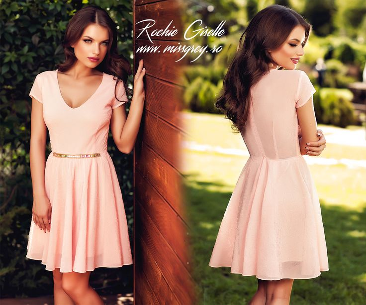 Dusty pink short day dress made from 3D tulle, with precious application at the waist:  https://missgrey.ro/ro/rochii/rochie-giselle/349?utm_campaign=colectie_iunie2&utm_medium=rochie_giselle&utm_source=pinterest_produs