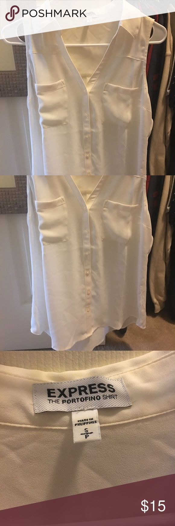 Express sleeveless blouse (Small) Good used condition. Great for warm weather or cooler weather under a cardigan. Express Tops Button Down Shirts