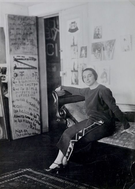 Who is Sonia Delaunay? Find out in our Q&A rundown - Sonia Delaunay in front of her door-poem in the Delaunays' apartment, Boulevard Malesherbes, Paris 1924