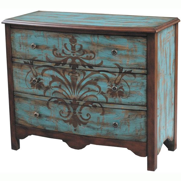 Pulaski 5 Drawer Chest painted furniture folk art stencil ---thinking similar for the dining room or entry with giant stencil like this. Description from pinterest.com. I searched for this on bing.com/images