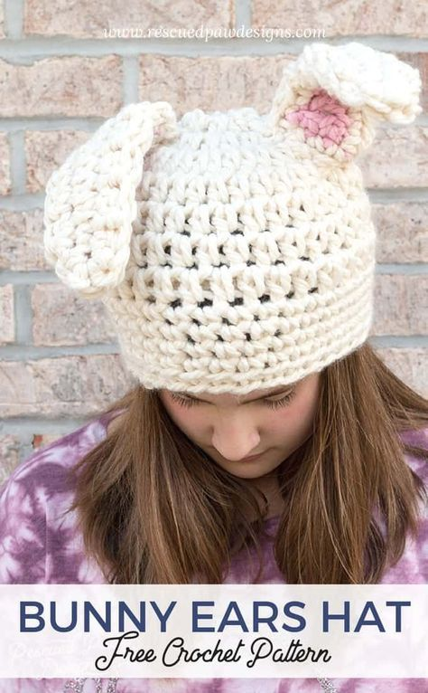 Crochet Floppy Bunny Ear Hat | Knitting | Pinterest | Ropa, Gorras ...