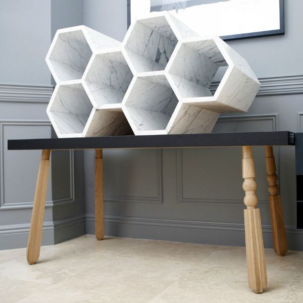 Bees & Honey Shelving Unit by Why Not Bespoke | The sleek lines and simple design of the marble are enhanced by its sensual temperament. Visual tension is achieved not only through the unique angular structure, but through the combination of finishes applied to the marble.