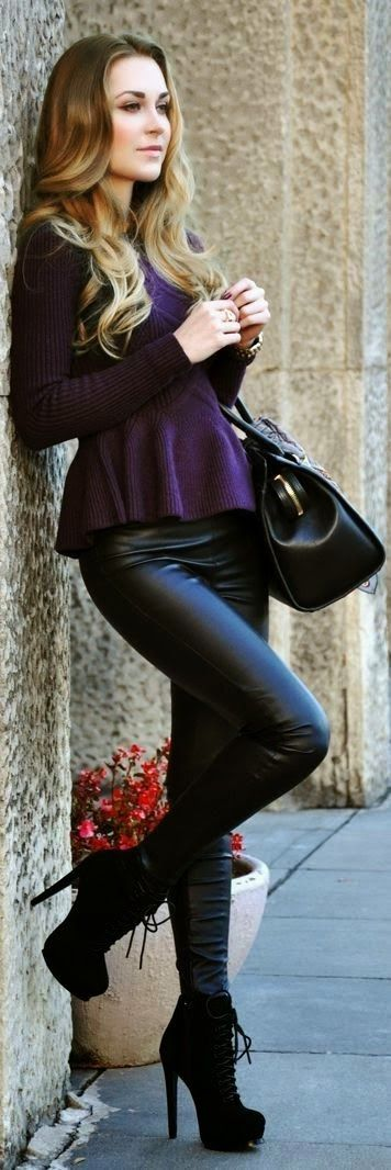 black leather pant boots with sweater and leather hand bag, love hair love the whole thing
