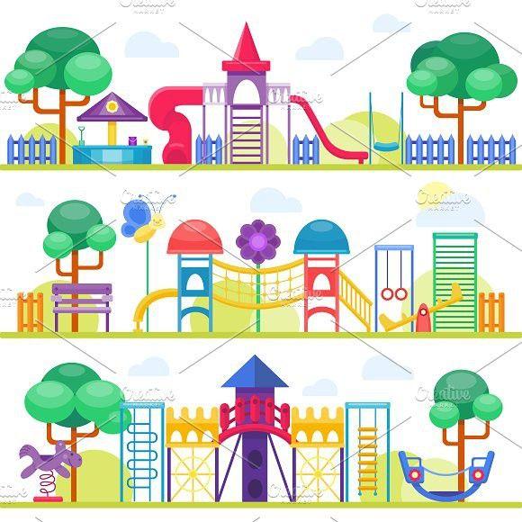Children playground vector. Leisure #vector #illustration