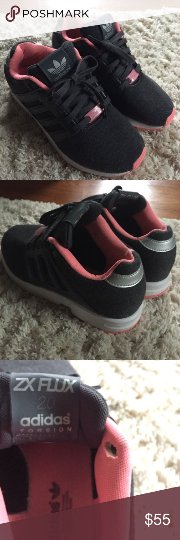 Adidas Torsion ZX Flux 2.0 Two different fabrics with hot pink, gray, and white. I wish these fit me. They look to be fairly worn so they're in really good condition! Adidas Shoes Athletic Shoes