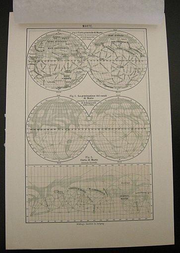 """Marte. Tratto da """"L'universo stellato. s.d. (ma 1900). Astronomia -  Universo - Pianeti - Marte -  Stampa - Scienza -  -"""
