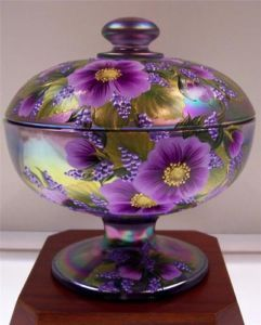 Fenton CANDY DISH Orchid Carnival COSMOS OOAK One-of-a-Kind
