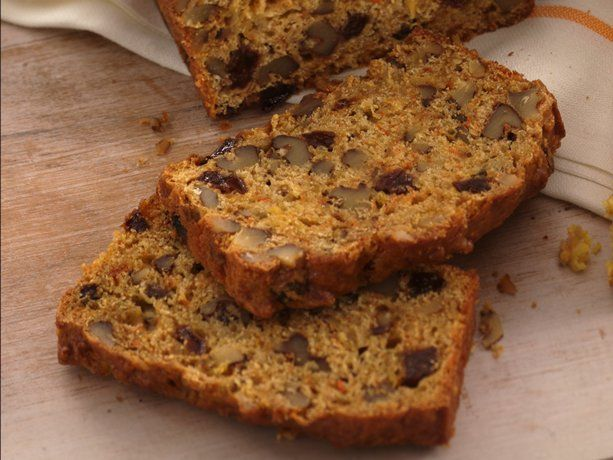 Harvest Bread...great on-the-go breakfast made using pineapple, carrots, walnuts and raisins!