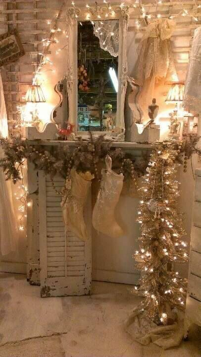 Love this makeshift mantle idea for Christmas