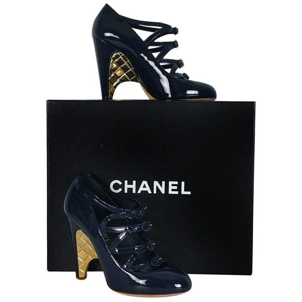 Pre-owned Chanel Navy Blue & Gold Wedge Heels ($279) ❤ liked on Polyvore featuring shoes, navy, navy wedge shoes, buckle shoes, navy mary jane shoes, gold shoes and leather sole shoes