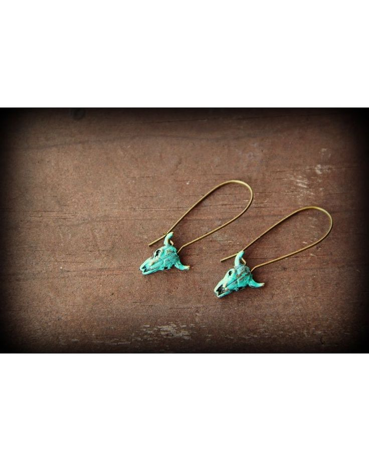 Cowgirl Relics   Turquoise Painted Brass Cow Skull Earrings   Country Outfitter