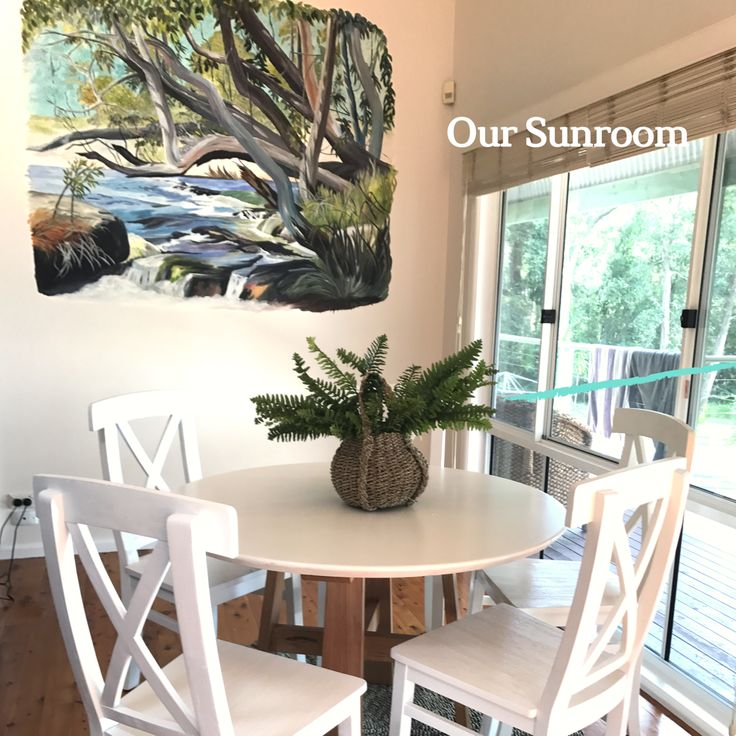 Furniture in the sunroom by Wildwood Designs, mural by Callala Bay artist