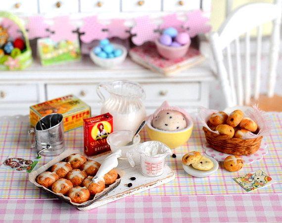 Miniature Baking Easter Hot Cross Buns Set by CuteinMiniature