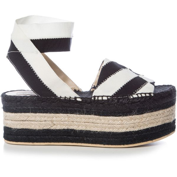Stella McCartney Striped bi-colour espadrille sandals (309.890 CLP) ❤ liked on Polyvore featuring shoes, sandals, black white, black and white sandals, chunky-heel sandals, woven sandals, wide sandals and black and white striped shoes