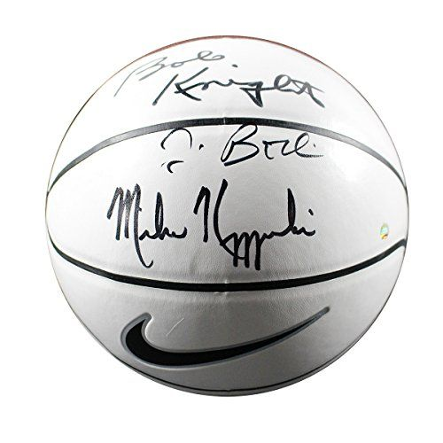 Jim Boeheim/bob Knight/mike Krzyzewski Triple Autographed Nike Elite White Panel Basketball *** Read more  at the image link.