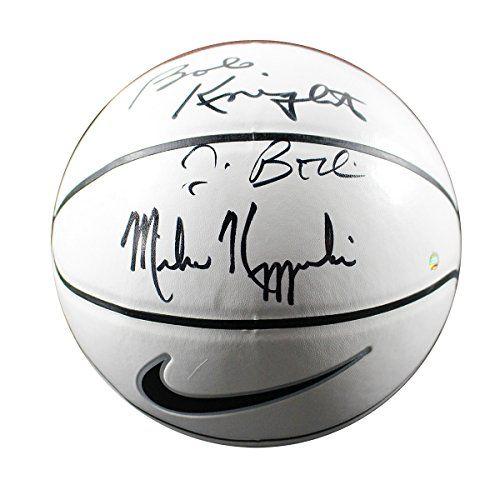 Jim Boeheim/bob Knight/mike Krzyzewski Triple Autographed Nike Elite White Panel Basketball *** Read more  at the image link.