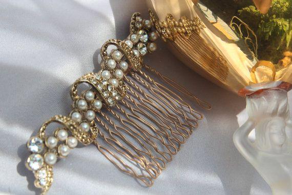 Vintage Bridal Pearl & Crystal Rhinestone by ButterflyEffectInc, $65.00