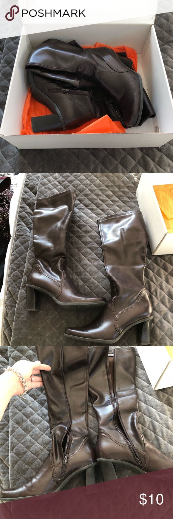 Franco Sarto Knee High Tall Brown Boots Dark brown boots by Franco Sarto. Kept in box, purchased from Gotham City. Tagged size 8.5 but I'm an 8 and they fit perfectly, so they run small. Only noticeable wear is to toes, scuffs, so priced accordingly and sold AS IS. Minimal heel wear, zippers work great. I video and photo items as they're packed at post office, so there's no question of condition. I ship fast! Franco Sarto Shoes Heeled Boots