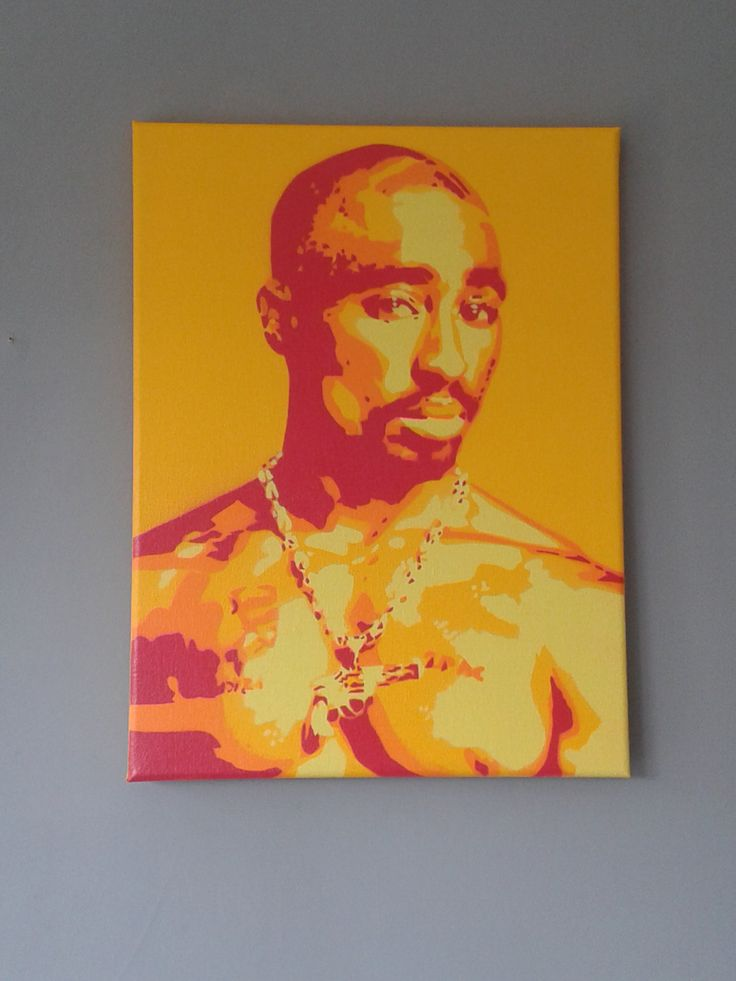 2PAC painting on canvasstencilsspray by AbstractGraffitiShop, $70.00