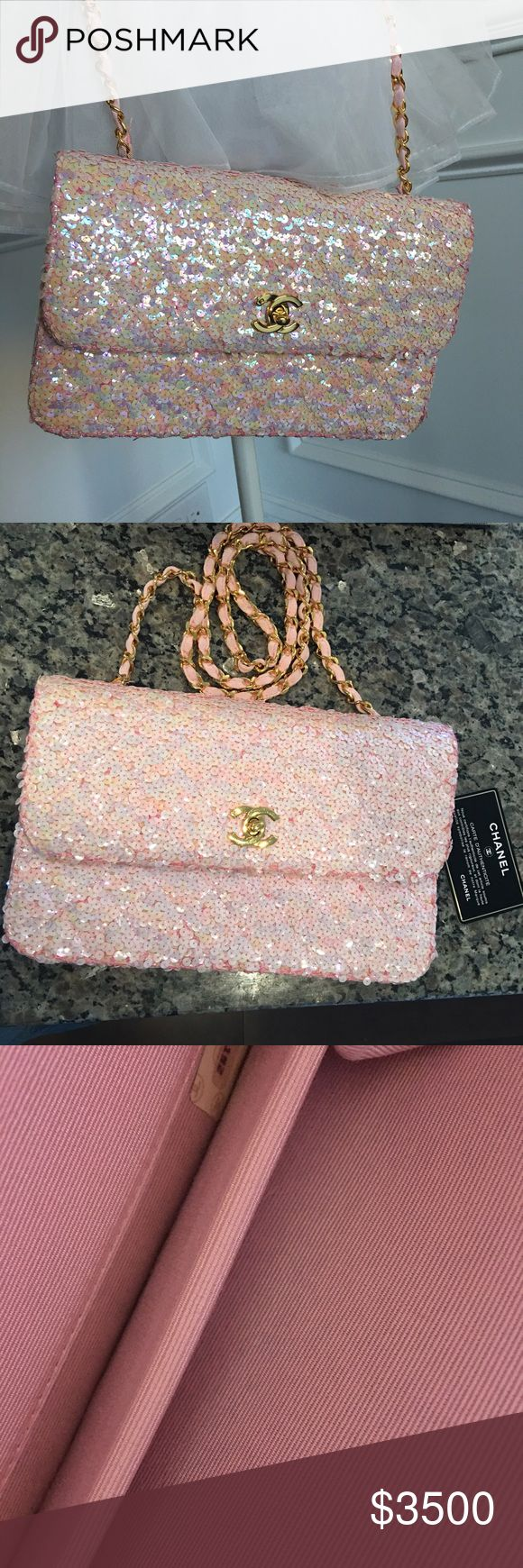 """Authentic Chanel vintage pink sequin flap bag This is a very rare and hard to find vintage Chanel sequin medium flap bag. Length is 10, depth is 1.5, and height is 6.5. The drop chain strap is 20"""". The gold hardware is gold plated and beautiful with hairline scratches. This is in good condition with some sequins missing. The bag inside has a one line mark but basically clean. This sparkles beautifully, and is a show stopper!! You can put iPhone , wallet and keys . Price is firm. This comes…"""