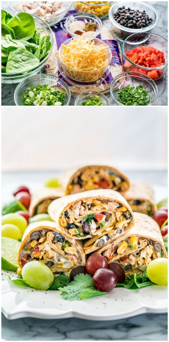 Southwestern Wraps. These Southwestern Wraps are packed with nutrition, containing black beans, chicken, spinach, roasted red peppers and a low fat sour cream and blue cheese spread. Easy and nutritious!