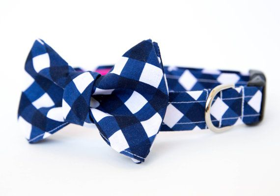 Navy Gingham Bow Tie Dog Collar by pecanpiepuppies on Etsy, $42.00