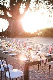 ribbon runnersOutdoor Wedding, Ideas, Tables Sets, Dinner Parties, Tables Runners, Wedding Reception, Table Runners, Long Tables, Outdoor Receptions