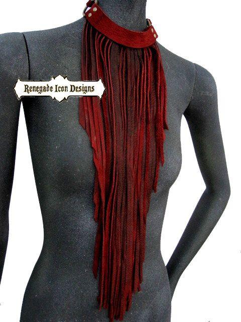 leather fringe necklace, fringe bib, long fringe necklace, boho, gypsy, tribal, statement piece: Renegade Icon Designs by Renegadeicon on Etsy https://www.etsy.com/listing/218407258/leather-fringe-necklace-fringe-bib-long