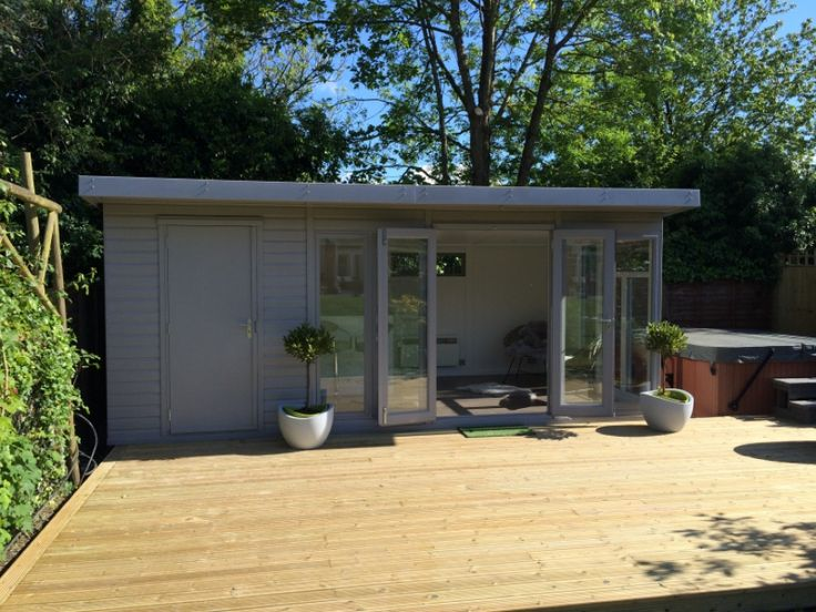 Contemporary 'Kite' combination garden room/store in Signal Grey, (search for 5058 for all this projects details)